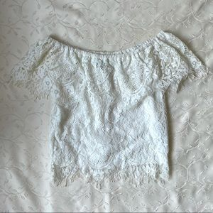 Lipsy off shoulder white lace top